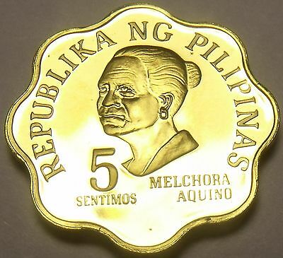 Philippines 1975 5 Sentimos Proof~37,000 Minted~Scalloped~Melchora Aquino~Fr/Shi