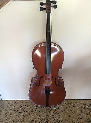 3/4 size Cello with bow, case and varnish cleaner