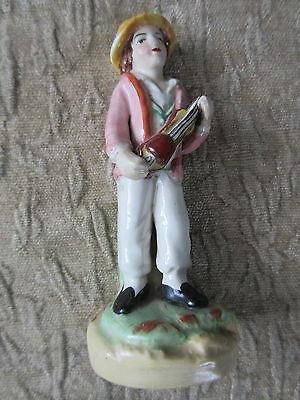 Antique Pottery Staffordshire Figurine Boy with Fiddle Violin
