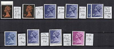 MACHIN  10 x 9p  DIFFERENT  SPECIALISED CV £7.55 UNHINGED MINT