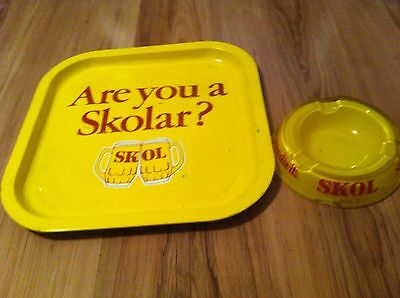 Are You A SKOLAR? SKOL LAGER  Advertising Tray Wall Hanging ? Pub Bar & ashtray