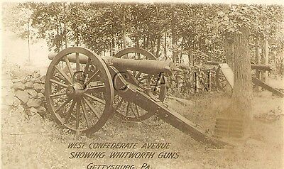 Org Vintage 1910s-20s Sepia Real Photo- Gettysburg- Confederate Whitworth Cannon