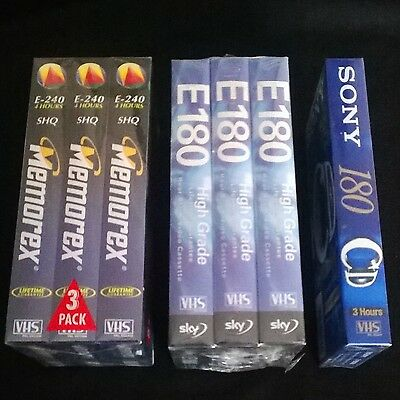 7 New and Sealed Blank VHS Video Tapes mix of Sony Memorex Sky