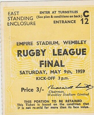 Ticket 1959 Rugby League Final Wigan v Hull