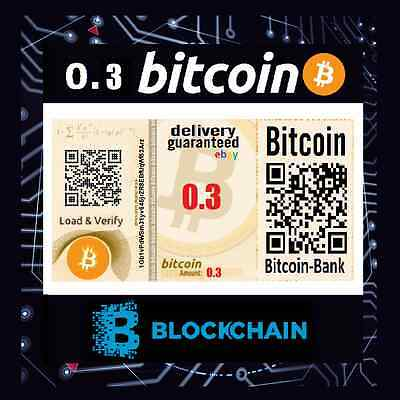 0.3 BITCOIN Gift Certificate International Tracked Delivery BTC Crypto Currency