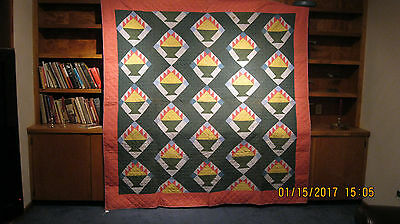 Antique quilt c 1890 baskets on point