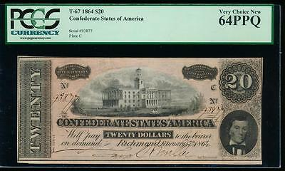 AC T-67 $20 1864 Confederate CSA PCGS 64 PPQ uncirculated!