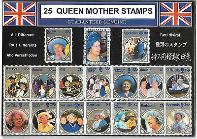 GB 25 Queen Mother Stamps plus small pack extra Queen Mother stamps.