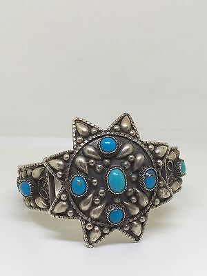 Stunning Vintage Sterling Silver Bangle With Turquoise Stones