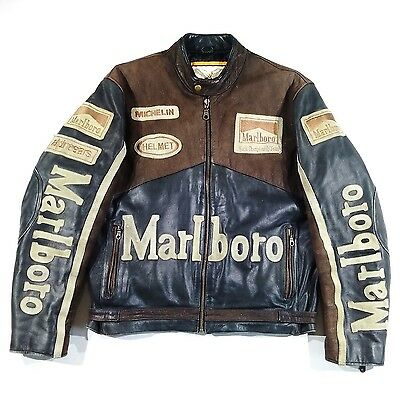 Men's Real Leather Motorcycle Jacket size M  Brown Marlboro XX02