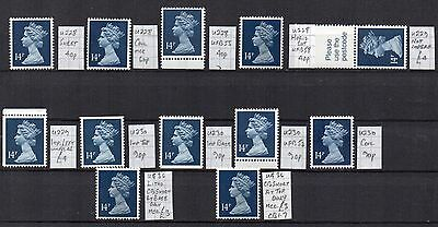 MACHIN  12 x 14p  DEEP BLUE  DIFFERENT SPECIALISED CV £22.40 UNHINGED MINT