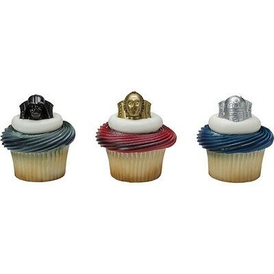 24 Star Wars Cupcake Cake Toppers Rings Birthday Party Favors NEW
