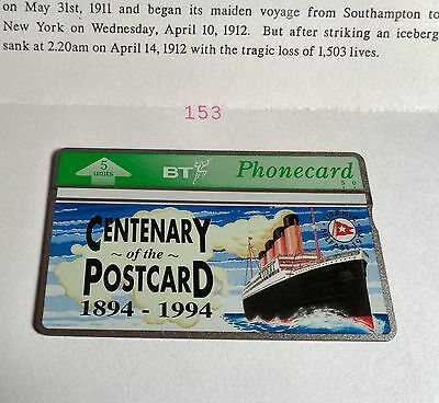 TITANIC Centenary of the Postcard 1994 BT Phonecard in special folder