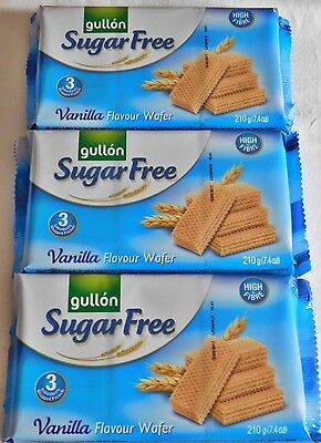 GULLON 3 x 210g PACKS OF SUGAR FREE VANILLA WAFER BISCUITS  DIABETIC SLIMMING
