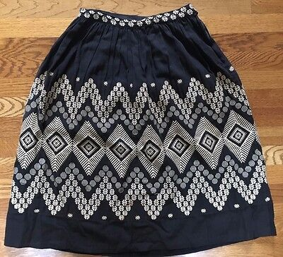 Vintage ethnic woman's skirt black with woven pattern