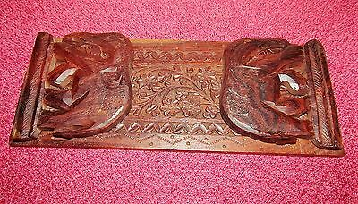 Good vintage carved wooden portable book stand. book tidy.book ends. Elephants