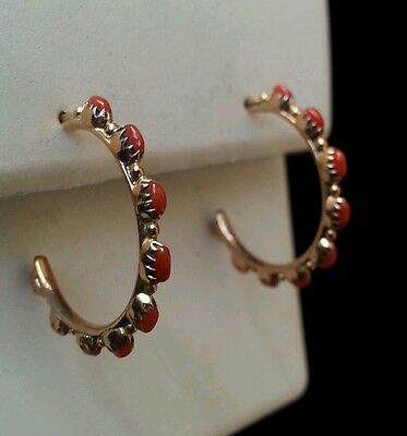 14kt Yellow Gold Zuni Needlepoint Hoop Earrings Genuine Coral Hand Made HS