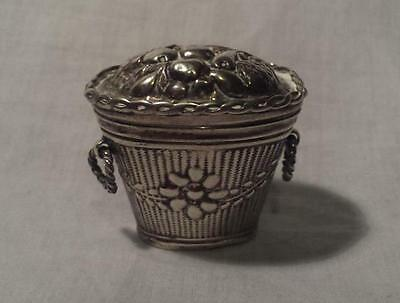 Miniature Dutch Silver Hallmarked Peppermint Snuff Chatelaine Basket Box 1838