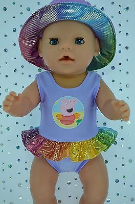 "Play n Wear Doll Clothes For 17"" Baby Born LILAC SWIMMING COSTUME~SUN HAT"