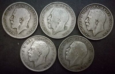 King George V Half-Crown Coins 1920 1921 1922 1923 1924 50% Pure Silver Date Run
