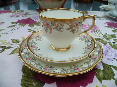 Lovely Salisbury English China Trio Tea Cup Saucer Plate Floral Gilded 1700