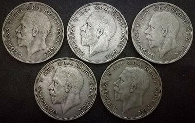King George V Half-Crown Coins 1932 1933 1934 1935 1936 50% Pure Silver Date Run