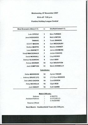 West Bromwich Albion v Sheffield United 07.11.07 Reserves Pontins League Central