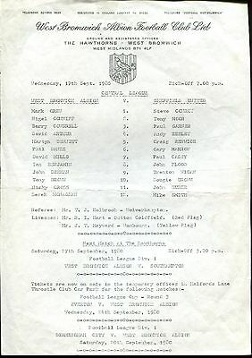 West Bromwich Albion v Sheffield United 17/09/80 Central League