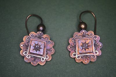 Victorian 15ct Gold & Rose cut Diamond Round Etruscan Style Earrings