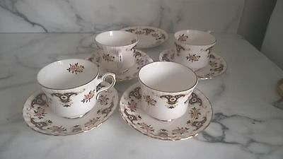 4 Belmoral Royal Safford Bone China Tea Cups And Saucers
