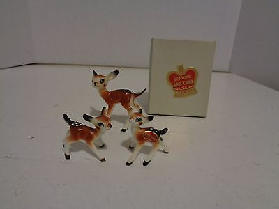 Vintage Bone China Deer & Fawn Family Mini Figurines in Box Japan