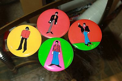 """he Beatles Yellow Submarine Pin-Back Buttons 3"""" Vintage 1968"""