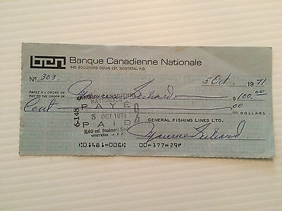 Maurice Richard triple- signed personal cheque #303 (autographed)