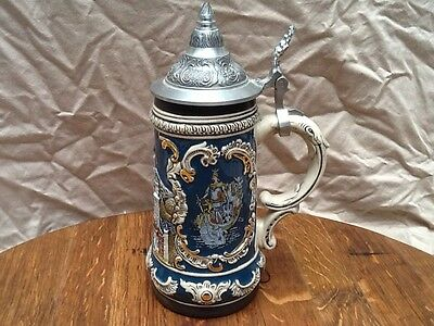 Gerz Beer Stein Raised Castle W/Knight & Swan King Design Gold Accents