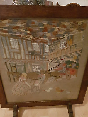 Oak Framed Tapestry Picture Fire Screen - Old Coaching Inn - Antique