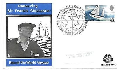 Francis  Chichester 1967 Greenwich S/pmk Official Sponsor New Wool Cover.
