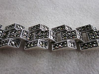 """Stunning Sterling Silver And Marcasite Bracelet 8"""""""