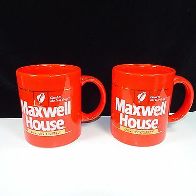 Vintage 1980's Instant Maxwell House 2 Coffee Cups / Mugs 12 oz Red Japan