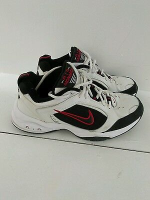 Men's NIKE AIR MONARCH IV White & RED Walking Running Shoes SIZE 9