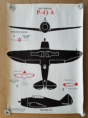 Vintage 1943 Wwii Aircraft Id Recognition Poster -  P-43 A - U.s. Fighter