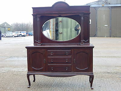Edwardian mahogany mirror back chiffonier sideboard in queen anne style cabriole