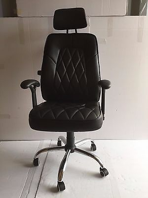 Reclining Office Chair with Adjustable lumber support in Black