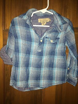 H&M Long Sleeve Dress Shirt, Boys Toddler size 2-3T, blue plaid