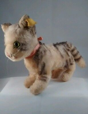 Steiff Tabby Cat 1968 to 1977 17 cm/ 6.69 in. Lentil Silver Button & Yellow Tag