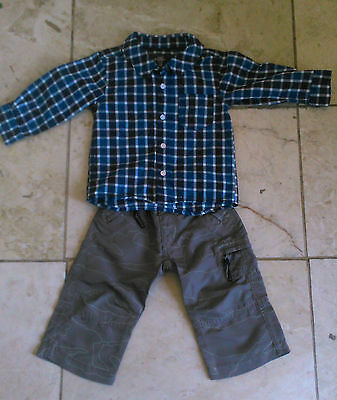 Designer Baby's Bench Trouser & H&M Check shirt  age 6-12months