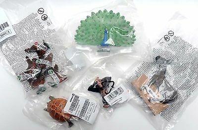 5 New Schleich Animals In Sealed Packs Peacock Chimpanzee Donkey Sea Turtle Hens