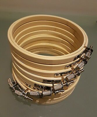 """x9 Job Lot 5"""" / 13cm Wooden Embroidery Hoop Cross Stitch Ring Hoops Frame"""