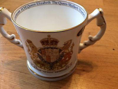Two-handled Love Mug by Aynsley To Celebrate Queen Mother's 90th Birthday
