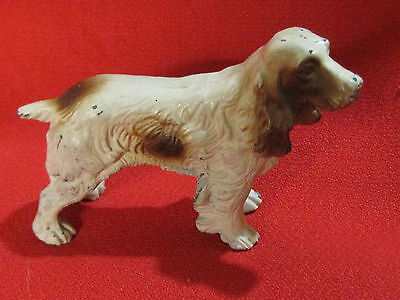 Vintage cold painted cast metal Cocker or Clumber Spaniel puppy dog figurine