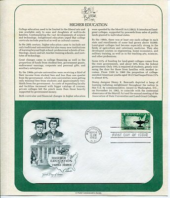 FIRST DAY COVER Washington DC 1962 HIGHER EDUCATION FDC Lot #15